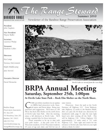 Summer 2010 Newsletter - The Baraboo Range Preservation ...