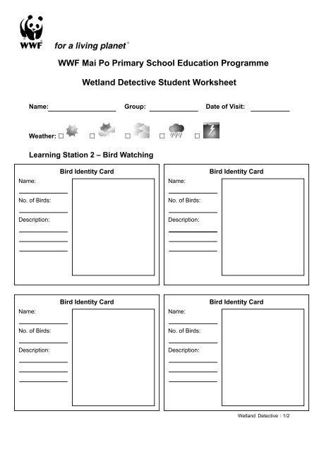 Mai Po Primary School Visit Wetland Detective Worksheet - WWF