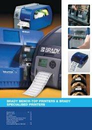 BRADY BENCH-TOP PRINTERS & BRADY SPECIALISED PRINTERS