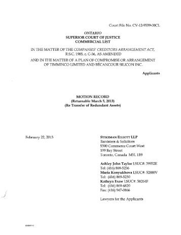 applied to the Commercial List - Environmental Law and Litigation