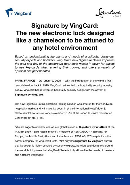 Signature by VingCard: The new electronic lock     - VingCard Elsafe