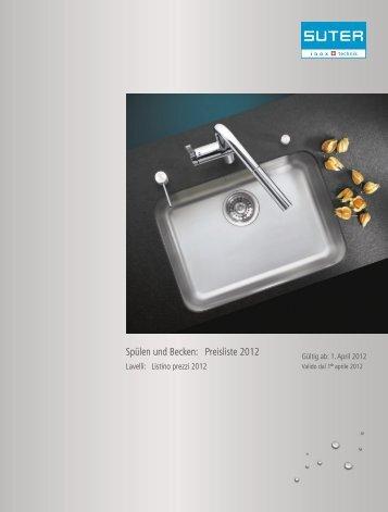 Spülen und Becken: Preisliste 2012 - Suter Inox AG
