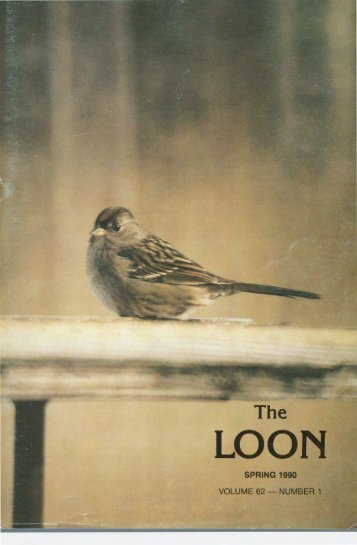 spring 1990 volume 62 - number 1 - Minnesota Ornithologists' Union