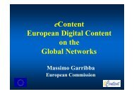 eContent European Digital Content on the Global Networks