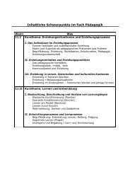 Inhaltliche Schwerpunkte im Fach Pädagogik - Gesamtschule ...