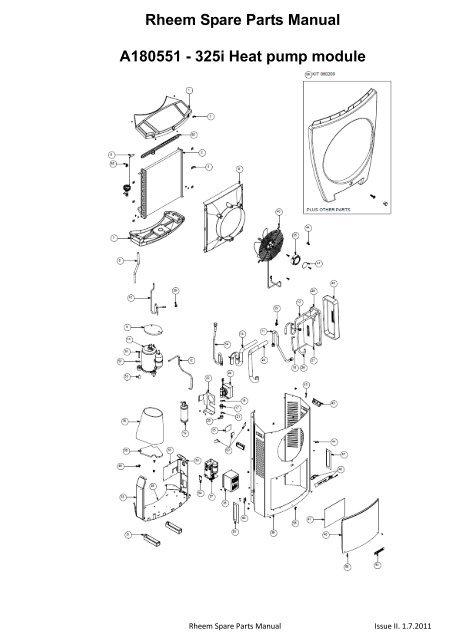 rheem spare parts manual a180551  325i heat pump module