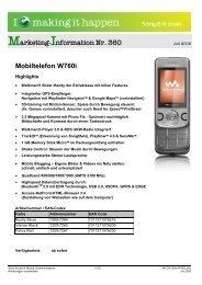 Marketing-Information Nr. 360 Mobiltelefon W760i - Mobileplus