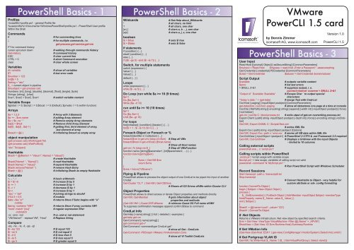 PowerShell Basics - 1 PowerShell Basics - 2 VMware PowerCLI