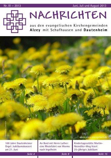 Gemeindebrief 03/2013 - Evangelische Kirchengemeinde Alzey
