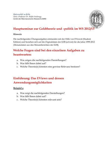 EViews Ausdrucke - Prof  Dr  Ralph Anderegg - Universität