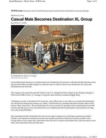 Casual Male Becomes Destination XL Group- Click to - Retail Geeks