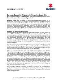 Der neue Suzuki Swift Sport: ein fahraktiver ... - Suzuki-presse.de