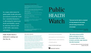Public Health Watch Brochure - Open Society Foundations