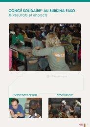 CONGé SOLIDAIRE® AU BURKINA FASO ... - Planète Urgence