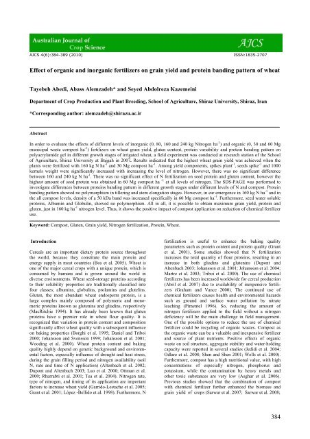 384 Effect of organic and inorganic fertilizers on grain yield and ...