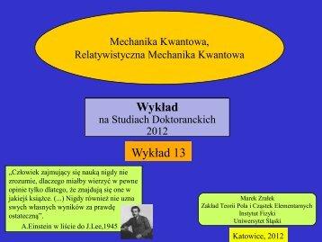 Wykład 13 - Uniwersytet Śląski