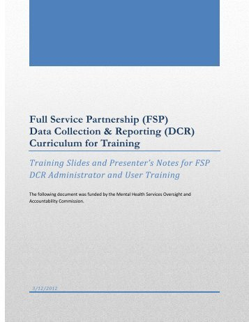 FSP DCR Curriculum for Training - Mental Health Services ...