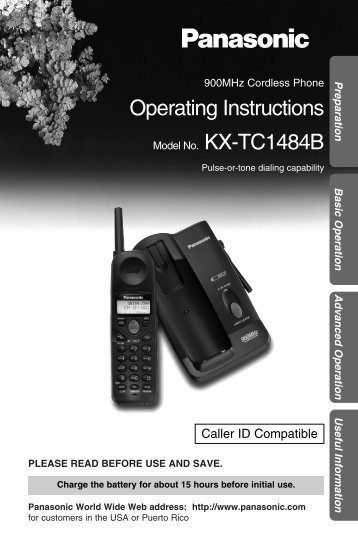 Panasonic KX-TC1484B.PDF - Operating Manuals for Panasonic ...