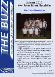 The Buzz - January 2011 - the Lakers Triathlon Club