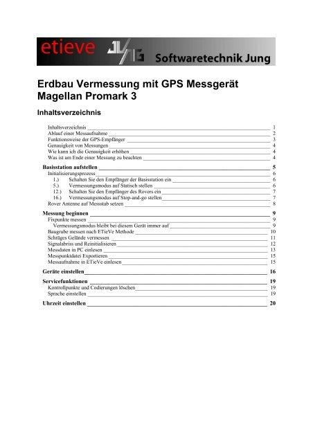 Handbuch: Vermessung mit Thales Navigation - ETieVe