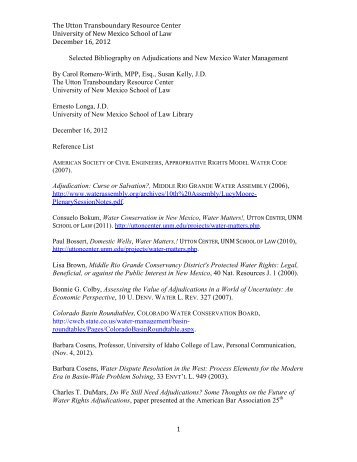 Selected Bibliography on Adjudications and New Mexico Water ...