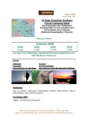10 Tage Tanzanian Southern Circuit Camping Safari