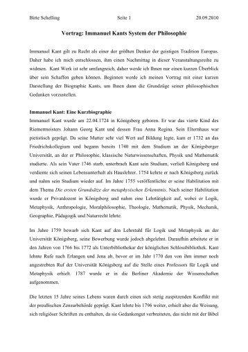 Vortrag: Immanuel Kants System der Philosophie - Sapere Aude ...