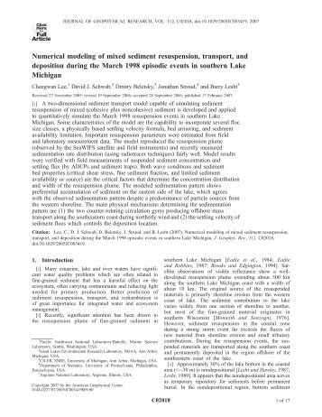 Numerical modeling of mixed sediment resuspension, transport, and ...
