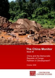 China Monitor – Issue 34 - The Centre for Chinese Studies