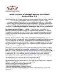 IAPAM Announces Next Aesthetic Medicine Symposium in Scottsdale: May 17-18