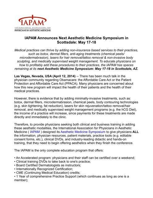 IAPAM Announces Next Aesthetic Medicine Symposium in Scottsdale: May