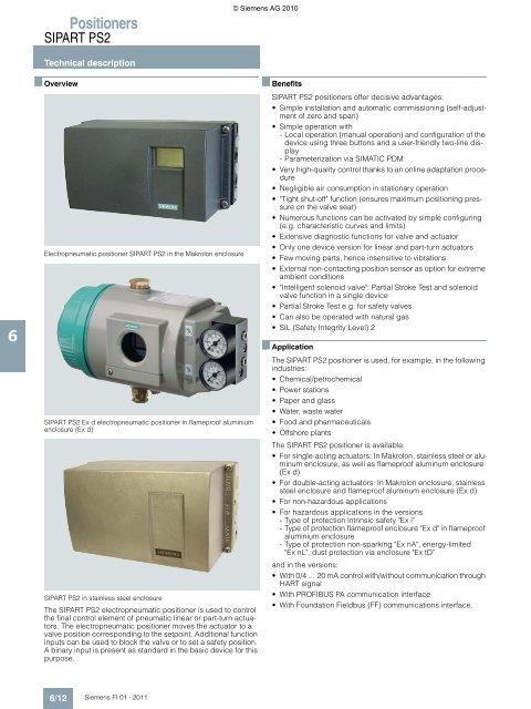 Technical brochure, siemens sipart ps2 positioner.