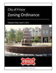 Zoning Ordinance - City of Frisco