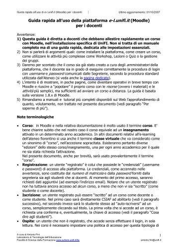 """Guida rapida Moodle docenti Unifi - Liceo Scientifico """"E. Curiel"""""""