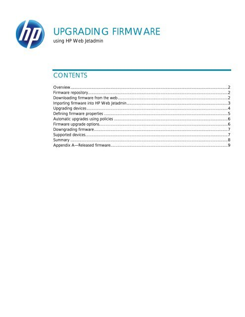 OVERVIEW HP Web Jetadmin