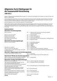 Allgemeine Zurich Bedingungen für die ... - Durchblicker