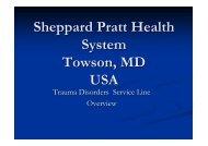 Acute Trauma Service Setup In Sheppard Pratt