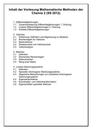 Literaturempfehlung zur Vorlesung Mathematische Methoden der ...