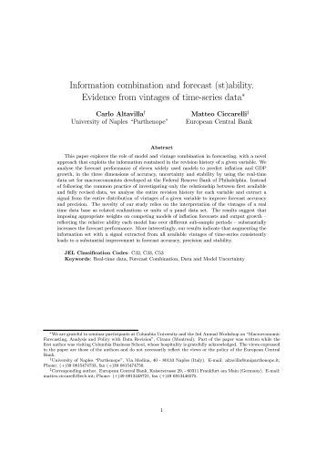 Information combination and forecast (st) ability. Evidence from ...