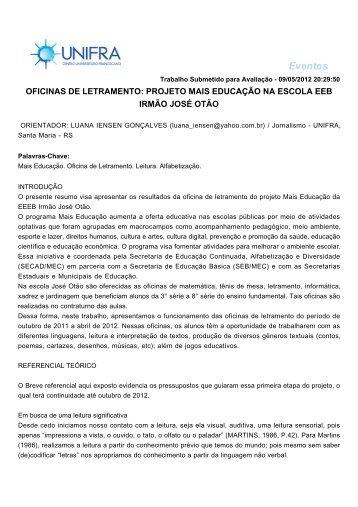 oficinas de letramento: projeto mais educação na escola ... - Unifra