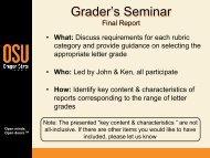 Grading Criteria for Final Reports - Classes