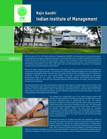 Rajiv Gandhi Indian Institute of Management - IIM Shillong