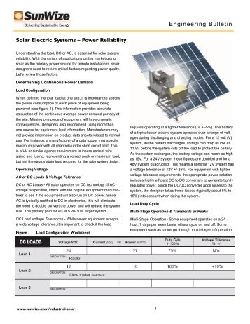 Solar Electric Systems and Power Reliability - SunWize ...