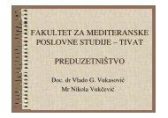 fakultet za mediteranske poslovne studije – tivat preduzetništvo