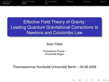 Effective Field Theory of Gravity - Theoretische Physik 1 ...