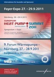 Nürnberg, 27. – 28.9.2011 - European Heat Pump Summit