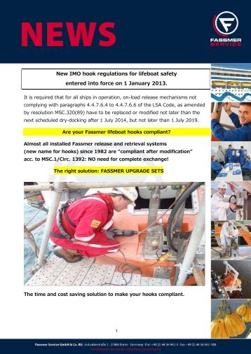 New IMO hook regulations for lifeboat safety ... - Fassmer Service