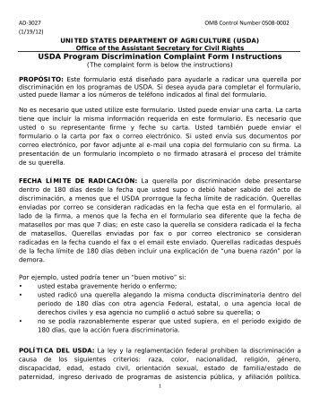USDA Program Discrimination Complaint Form