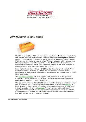 EM100 Ethernet-to-serial Module