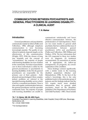 communications between psychiatrists and general practitioners in ...